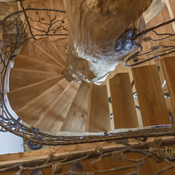 Spiral interior staircase railings