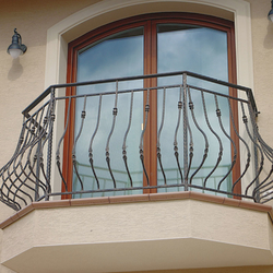 A classic exterior wrought iron railing